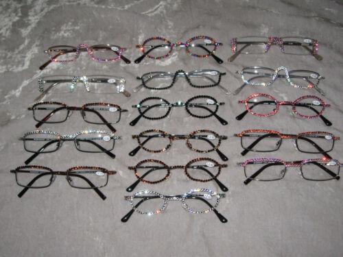 Swarovski Crystal Jeweled Reading Glasses Fashion Bling +2.50 Wire Frames NEW!