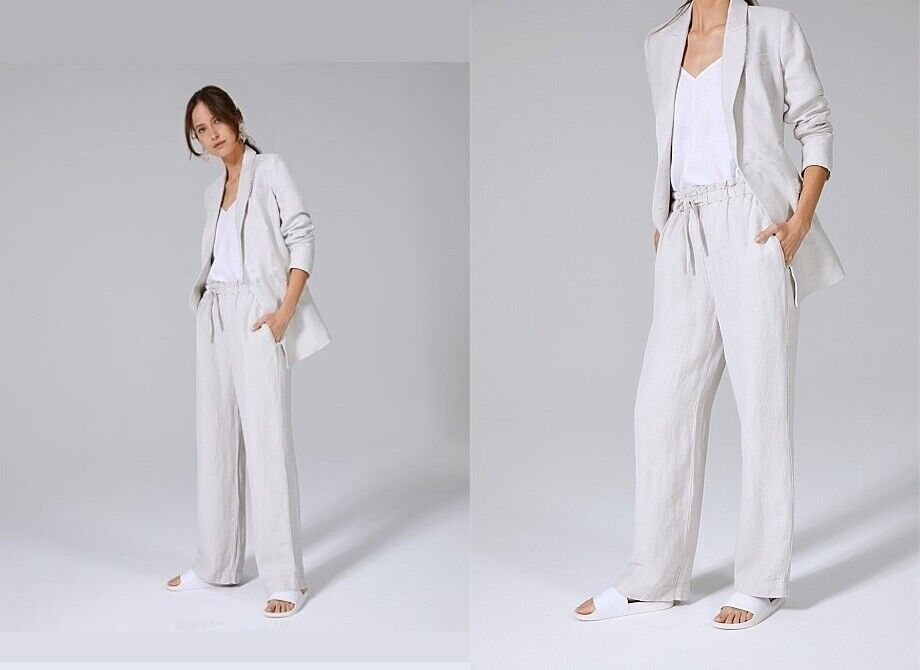 NWT  Designer COUNTRY ROAD Basketweave LINEN Wide Leg Pants Cement SOLD OUT