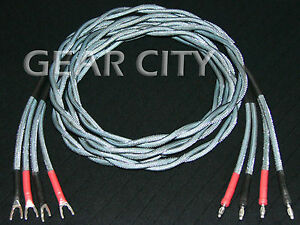 cjc06 2.5m 8ft Speaker Cable OFC Twisted Pair Wire Silver Banana ...