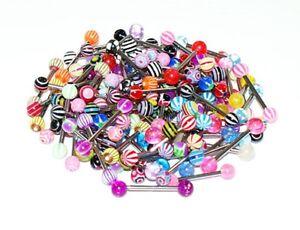 LOT-de-10-piercing-langue-acier-chirurgical-X-10-tous-differents-boules-couleurs