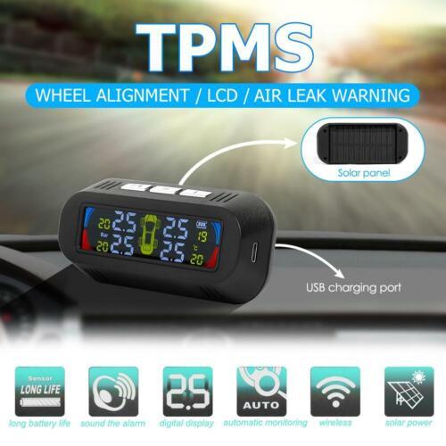 Wireless Solar Auto Car TPMS Tire Pressure Monitor System w// 4 External Sensors