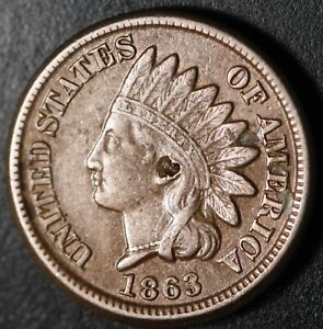 1863 INDIAN HEAD CENT - With LIBERTY & DIAMONDS - XF EF Details