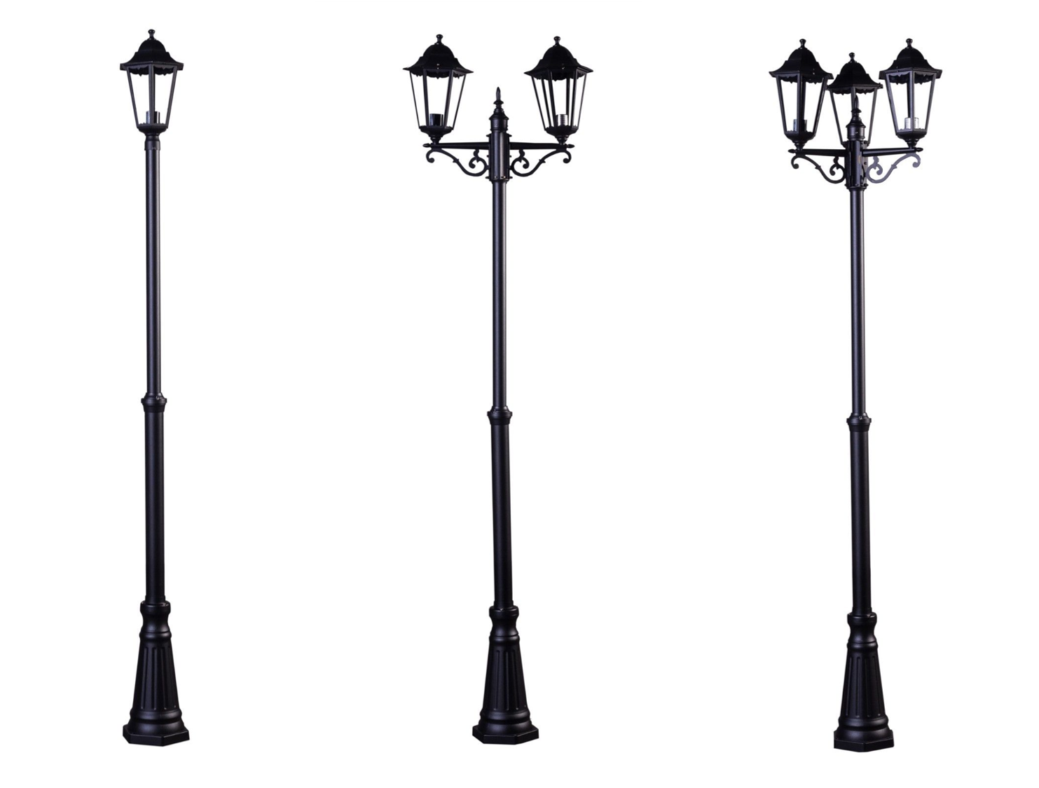 1.8M TRADITIONAL TWIN SOLAR LAMP POST LED LIGHT OUTDOOR GARDEN DRIVEWAY PATIO
