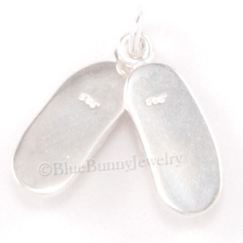 Flip Flop Sandal Beach Shoe With Bow 3D .925 Solid Sterling Silver Charm