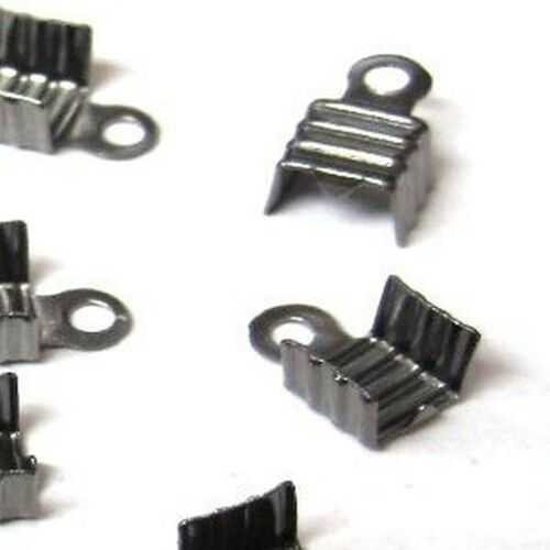 200 Black Plated Brass Necklace End Tips K6565
