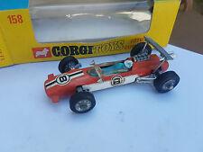 CORGI TOYS 158a LOTUS CLIMAX RACING CAR VERY NICE IN ORIGINAL BOX 1969 1972