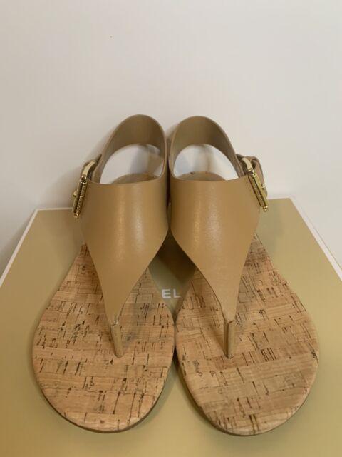New - Women's Michael Kors London Peanut Leather Thong Sandals Size 6.5