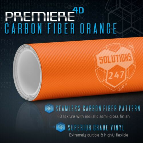 """60/""""x60/"""" Inch Vinyl Wrap Bubble Free Air Release 4D Orange Carbon Fiber Gloss"""