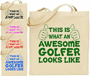 Awesome Golfer Large Cotton Tote Shopping Bag Canvas Golf Sports Day ... 8320c6a5c16