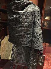 Hand Crochet Antique Vintage Black Silk Ribbon Fringed Pianno Wrap Shawl