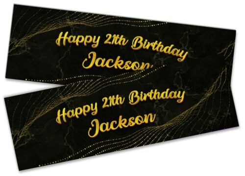 Details about  /x2 Personalised Birthday Banner Marble Children Kids Party Decoration 14