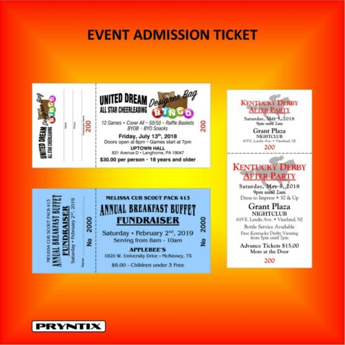 Custom Printed 2000 RAFFLE TICKETS Numbered /& Perforated Card Stock