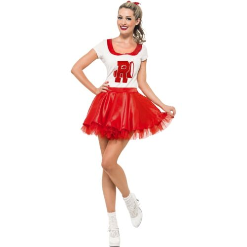 Grease Licensed Sandy Cheerleader Prom Womens Ladies Fancy Dress Costume