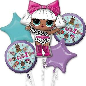 LOL-Surprise-Dolls-Birthday-Balloon-Party-5-pcs-Foil-Balloons-Bouquet