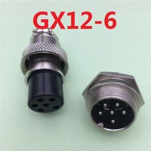 6 Pin Enchufe y Zócalo GX12-6 12mm Enchufe de aviación conector del panel de tipo tornillo