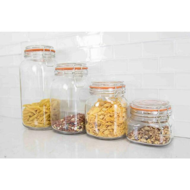 Food Canister Set Container Storage Kitchen Clear Glass Dry Cereal Jars 4  Piece