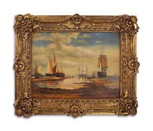 9973272-ds Öl-Gemälde /Holz im Holz/Resin-Goldstuck-Rahmen Schiffe am Ufer neu
