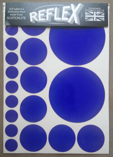 Bike Spots 3M Scotchlite Reflective Reflex A4 Sticker Pack Circles Black White