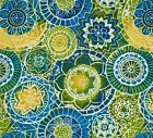 Outdoor/ Indoor ~Upholstery~ Decorative Circles ~ Fabric~ Blue ~ 1/4 yard