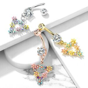 Triangle Dangle Belly Navel Bar Ring Piercing Button Body Jewelry Barbell