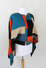 BCBG Max Azria Hi Low Wool Jacket Cape Blue Black Orange Medium Large PERFECT