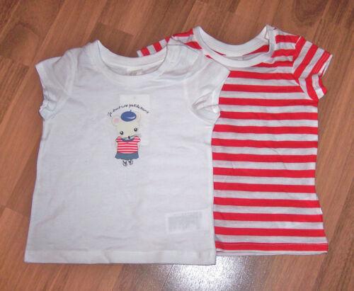 74 86 92 H/&M 2er Pack Baby T-Shirts Mädchen Gr