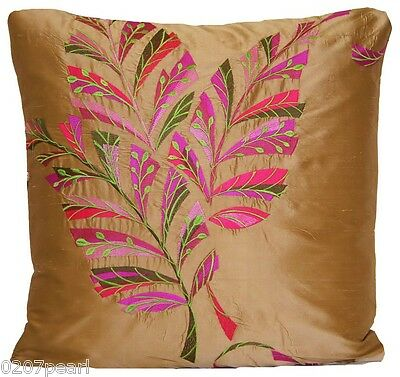 Floral Embroidered Cushion Cover Designers Guild Delacroix Silk Fabric