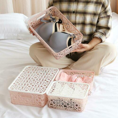 Large Lace Plastic Storage Basket Box with Lid Stackable Basket Container C5Z6