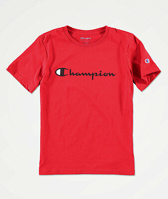 Champion Big Boys Size Large 16-18 Short Sleeve Script Logo T-shirt Tee