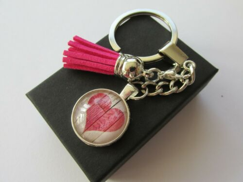 Handmade Pink Love Heart Print Keyring /& Tassle Boxed Gift Wife Girlfriend Mum