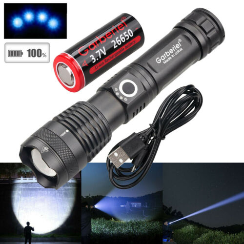 High Powerful XHP50 Zoomable Flashlight LED USB Rechargeable Torch Headlamp