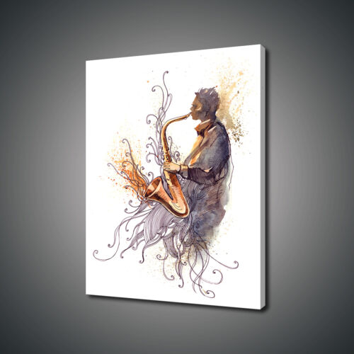 SAXOPHONE JAZZ MUSIC INSTRUMENTS CANVAS PRINT PICTURE WALL ART FREE UK DELIVERY
