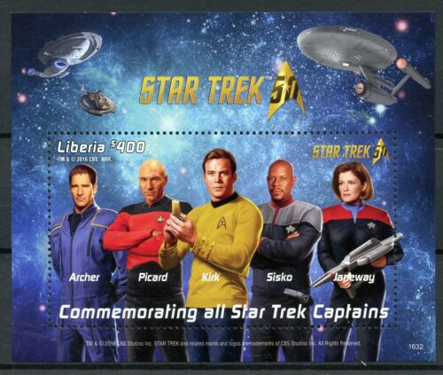 Liberia 2016 MNH Star Trek Captains Kirk Picard Janeway 50th Anniv 1v S//S Stamps