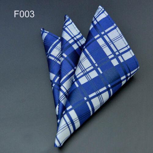 F003 men/'s silk pocket square wedding party navy blue stripe paids handkerchief