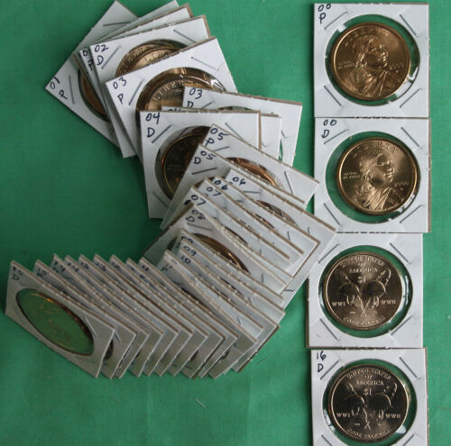 2000 thru 2018 SACAGAWEA Dollar Native American 38 Coin P and D $1 Lot UNC