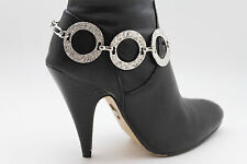 Women Western Boot Bracelet Metal Chain Big Silver Rings Anklet Bling Shoe Charm