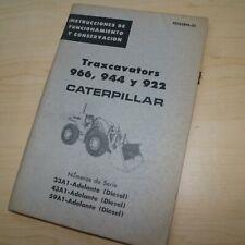 Spanish Espanol Caterpillar 922 944 966 Front End Wheel Loader Operator Manual