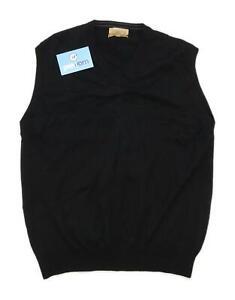 Marks-amp-Spencer-Mens-Size-L-Wool-Black-Lightweight-Top