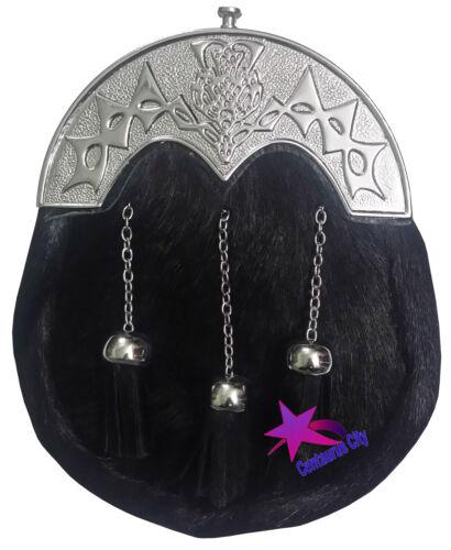 New Mens Scottish Kilt Sporran Black Bovine Thistle Cantle//Leather Kilt Sporran