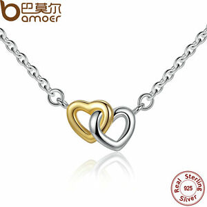 Bamoer-Solid-S925-Sterling-Silver-Double-love-Heart-Necklace-For-women-Jewelry