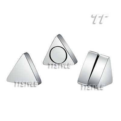 TTstyle Stainless Steel Triangle Magnet Fake Earrings Size 6-8mm 5 Colours