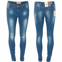 Ladies Womens Ripped Knee Cut Tight Straight Slim Fit Skinny Stretch Denim Jeans