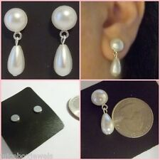 MAGNETIC  Faux Button White Pearl 10mm Drop DANGLE Clip-on Fun Earrings #MAG19