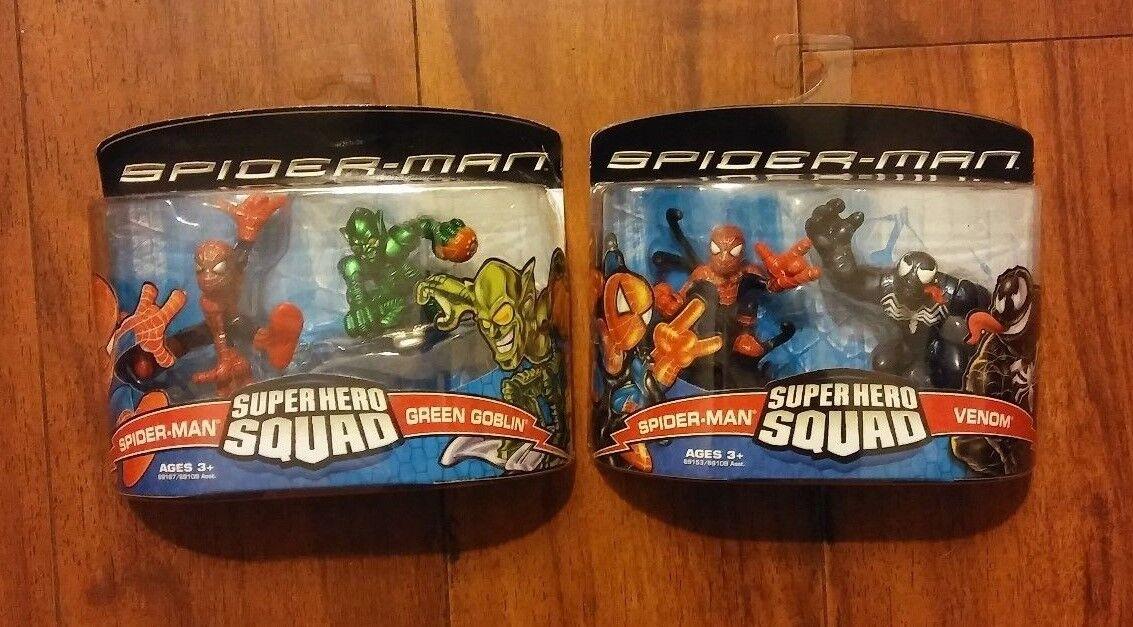 NEW Marvel Super Hero Squad of SPIDERMAN, VENOM, and GREEN GOBLIN