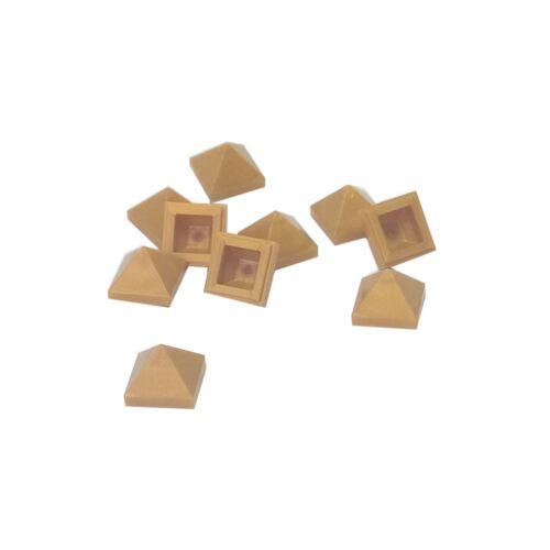 10 NEW LEGO Slope 45 1 x 1 x 2//3 Quadruple Convex Pearl Gold