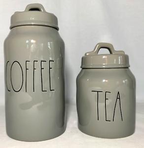 "Rae Dunn Ceramic Grey ""COFFEE & TEA"" Canisters-----BRAND NEW!"