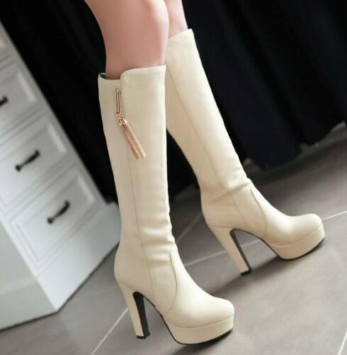 Fashion Womens Lady High Heels Platform Knee High Boots Metal Tassel zip Shoes