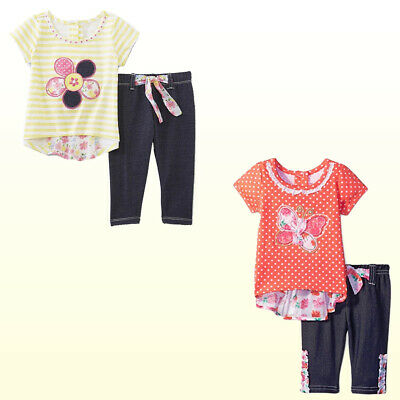 Nannette Little Girls 2 Piece Cotton Pant Set