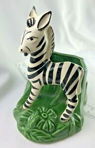 VINTAGE-SHAWNEE-POTTERY-Zebra-PLANTER-VASE-BLACK-white-green-RETRO-EARLY-MID-CE
