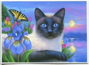 ACEO SIAMESE CAT BLUE IRIS FLOWER GARDEN FULL MOON SUNSET BUTTERFLY LAKE PRINT